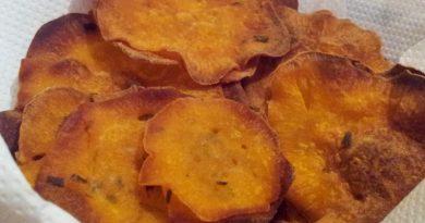 Hrustljav čips iz sladkega krompirja