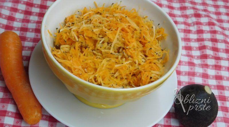 Črna redkev s korenčkom v solati