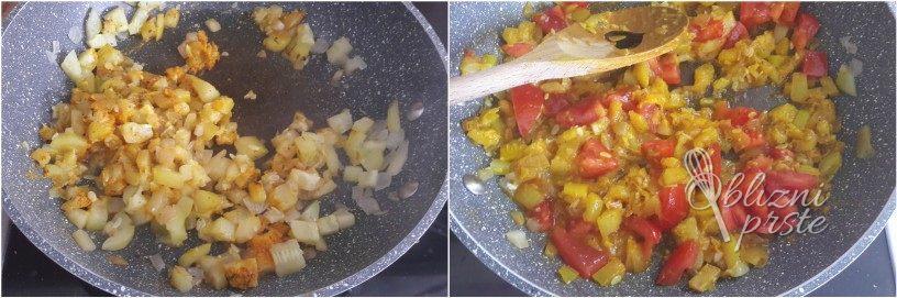 Pljukanci v omaki iz bučk in paradižnika