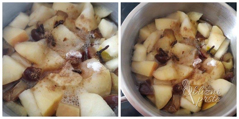 Domač jabolčno-slivov kompot