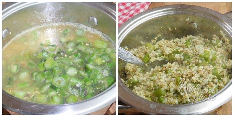 Šparglji v rižoti z dodano proseno in ajdovo kašo