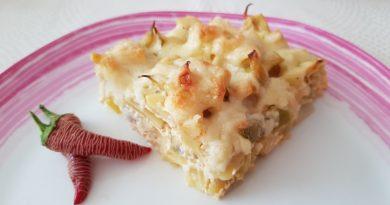 Stročji fižol s krompirjem gratniran v pečici