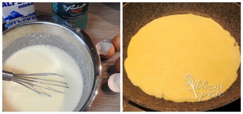 palačinke z vaniljevo kremo in sadnim prelivom