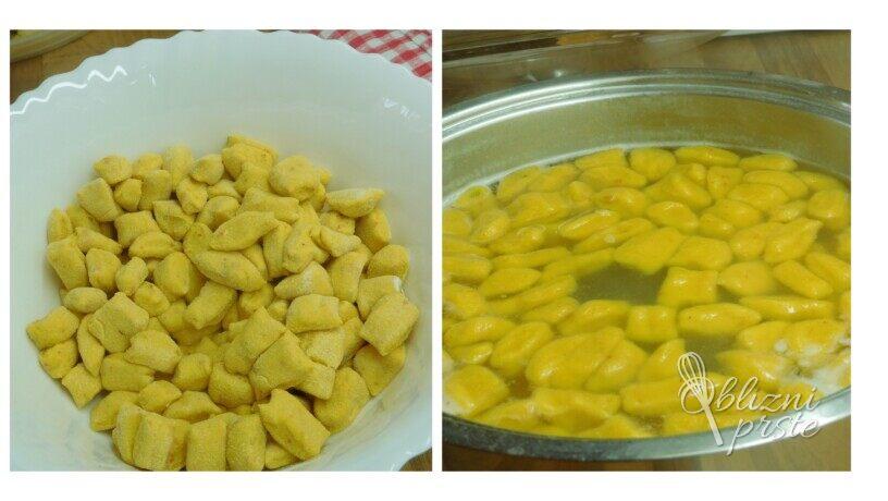 Bučni njoki - svaljki z maslom in drobtinami
