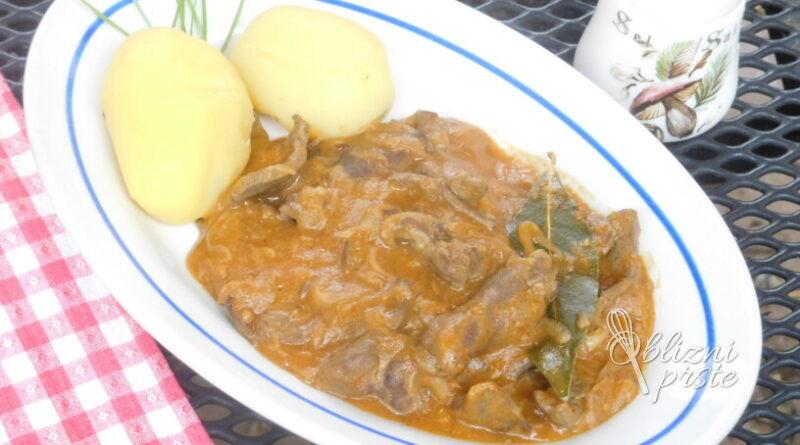 Svinjska jetrca v vinski omaki