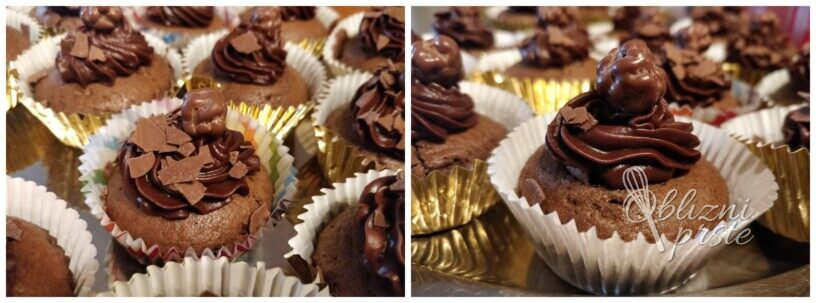 Enostavni čokoladni mafini s čokoladno kremo