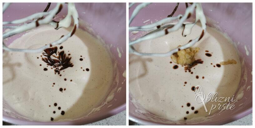 Čokoladno bananin šarkelj z malinami